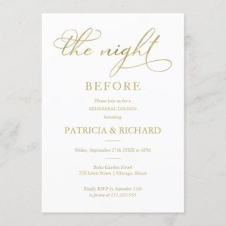 The Night Before Gold Foil Simple Rehearsal Dinner