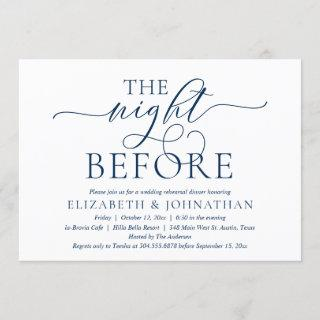 The Night Before, Navy Blue, Rehearsal Dinner Invitation