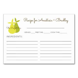 The Perfect Pair Pears Bridal Shower Recipe Cards