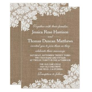 The Rustic Burlap & Vintage White Lace Collection Invitations