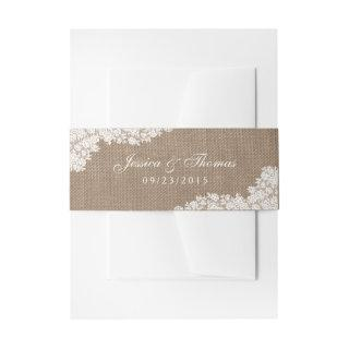 The Rustic Burlap & Vintage White Lace Collection Invitations Belly Band