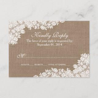 The Rustic Burlap & Vintage White Lace Collection RSVP Card