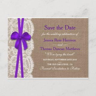 The Rustic Purple Bow Collection Save The Date Announcement Postcard