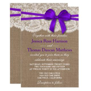 The Rustic Purple Bow Wedding Collection Invitations