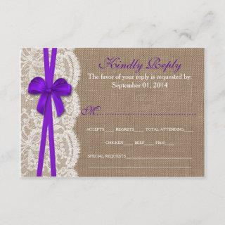 The Rustic Purple Bow Wedding Collection RSVP Card
