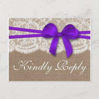 The Rustic Purple Bow Wedding Collection RSVP Invitation Postcard
