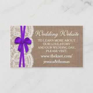 The Rustic Purple Bow Wedding Collection Website Enclosure Card