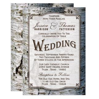 The Rustic Silver Birch Tree Wedding Collection Invitation