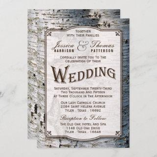 The Rustic Silver Birch Tree Wedding Collection Invitations
