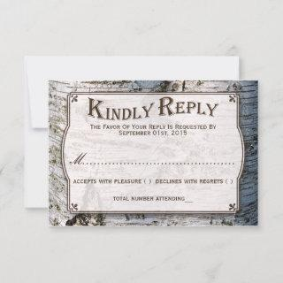 The Rustic Silver Birch Tree Wedding Collection RSVP Card