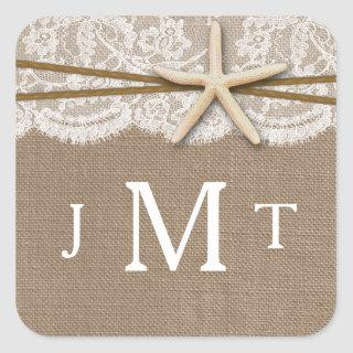 The Rustic Starfish Beach Wedding Collection Square Sticker