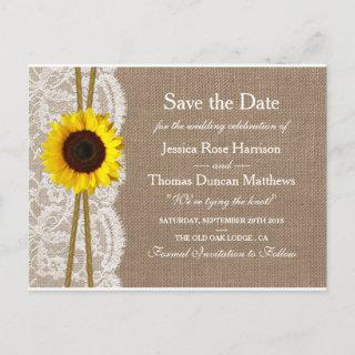 The Rustic Sunflower Collection Save The Date Announcement Postcard