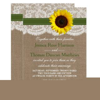 The Rustic Sunflower Wedding Collection - Green Invitations