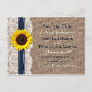 The Rustic Sunflower Wedding Collection - Navy Announcement Postcard
