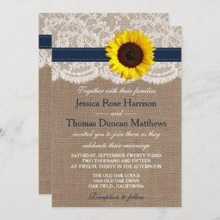 The Rustic Sunflower Wedding Collection - Navy Invitation