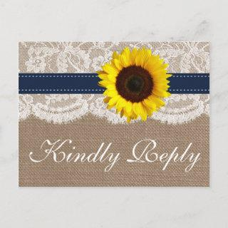 The Rustic Sunflower Wedding Collection - Navy Invitation Postcard