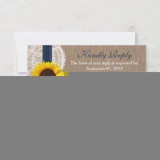 The Rustic Sunflower Wedding Collection - Navy RSVP Card