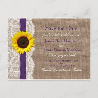 The Rustic Sunflower Wedding Collection - Purple Announcement Postcard