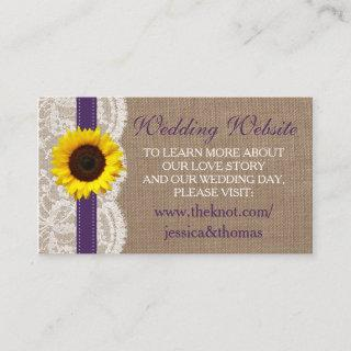 The Rustic Sunflower Wedding Collection - Purple Enclosure Card
