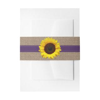 The Rustic Sunflower Wedding Collection - Purple Invitations Belly Band