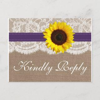 The Rustic Sunflower Wedding Collection - Purple Invitation Postcard