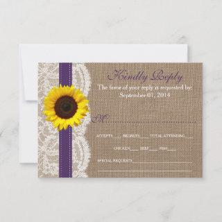 The Rustic Sunflower Wedding Collection - Purple RSVP Card