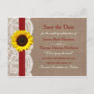 The Rustic Sunflower Wedding Collection - Red Announcement Postcard