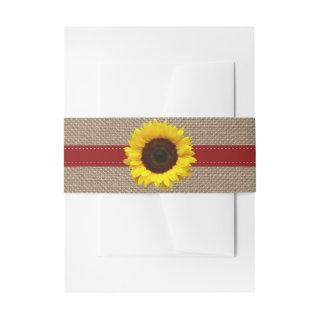 The Rustic Sunflower Wedding Collection - Red Invitations Belly Band