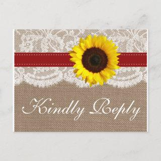 The Rustic Sunflower Wedding Collection - Red Invitations Postcard