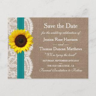 The Rustic Sunflower Wedding Collection - Teal Announcement Postcard