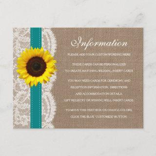 The Rustic Sunflower Wedding Collection - Teal Enclosure Card