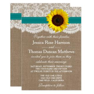 The Rustic Sunflower Wedding Collection - Teal Invitation