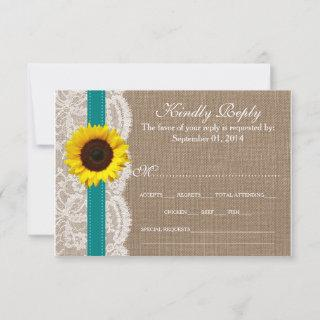 The Rustic Sunflower Wedding Collection - Teal RSVP Card