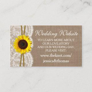 The Rustic Sunflower Wedding Collection Website Enclosure Card