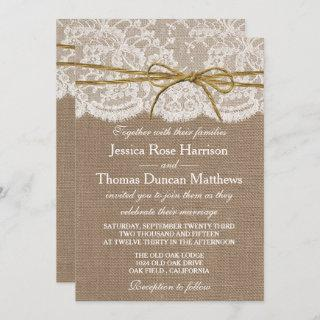 The Rustic Twine Bow Wedding Collection Invitations