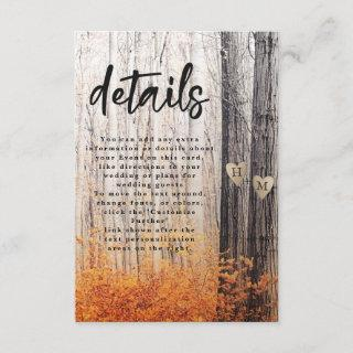 The Two Lovers Carved Trees Fall Wedding Details Enclosure Card
