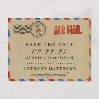 The Vintage Airmail Wedding Collection Announcement Postcard