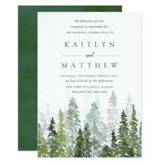 The Watercolor Pine Tree Forest Wedding Collection Invitations