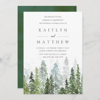 The Watercolor Pine Tree Forest Wedding Collection Invitation