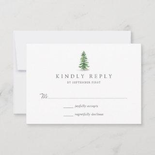 The Watercolor Pine Tree Forest Wedding Collection RSVP Card
