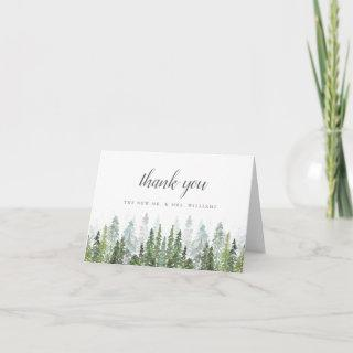 The Watercolor Pine Tree Forest Wedding Collection Thank You Card