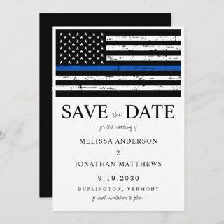 Thin Blue Line Law Enforcement Police Wedding Save The Date