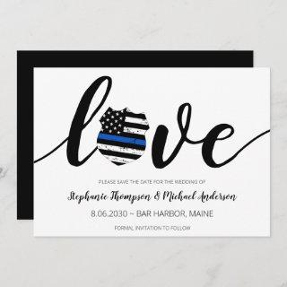 Thin Blue Line Police Law Enforcement Wedding Save Save The Date