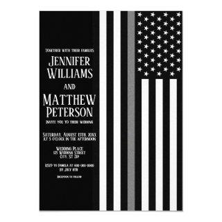 Thin Gray Line Correctional Officer Flag Wedding Invitations