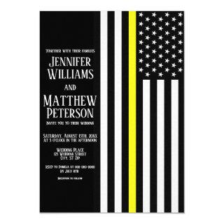 Thin Yellow Line Dispatcher Flag Wedding Invitations