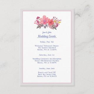 Think Dusty Pinks Wedding Itinerary Card