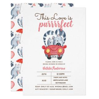 This Love is PURRFECT Cats Themed Bridal Shower Invitation