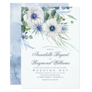 Thistle Anemone Greenery Dusty Blue Wedding Invitations