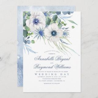 Thistle Anemone Greenery Dusty Blue Wedding Invitation