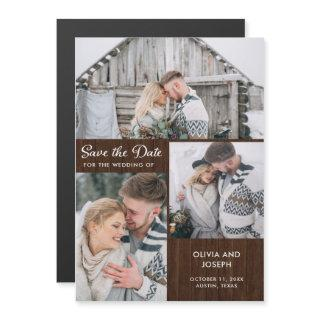 Three Photo Save the Date | Rustic Wood Magnetic